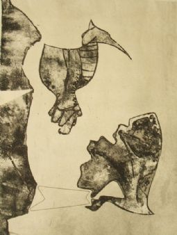 Georg Gresko 'Vogelschreck' antique aquatint etching; 1952